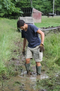 Lucas is hard at work playing in the mud.